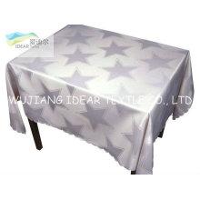 Poliéster tecido cetim estampado revestido a Teflon para toalha de mesa