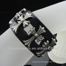 Leder Handgelenk Band Handgefertigte Schmuck Antike Herren Schwarz Echt Leder Armbänder BGL-029