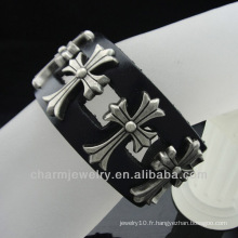 Bracelet en cuir Bijoux faits à la main Bracelet en cuir véritable noir pour homme BGL-029