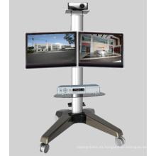 Soporte de montaje de monitor de ruedas resistente de doble pantalla (PSF207)