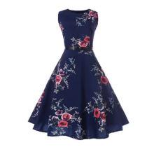 O-Ausschnitt Ärmellose A-Linie Blume Schönes Vintage-Kleid