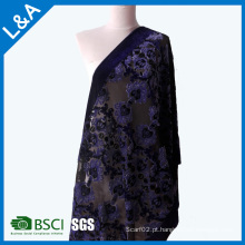 Classic Burnt-out Velvet Blue Scarves Shawls Factory Customized