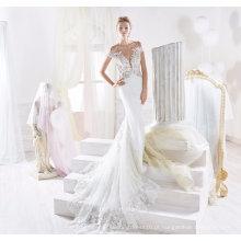 Moda Lace Beading Sereia Vestido De Noiva