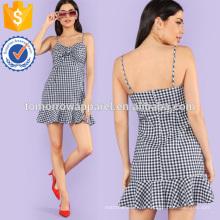 Knoten vorne Rüschen Saum Unterkleid Herstellung Großhandel Mode Frauen Bekleidung (TA3153D)