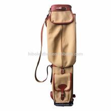 Tourbon Sonntag Stil Vintage Leinwand und Leder benutzerdefinierte Golftasche