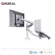 Ajustable de aluminio Laptop Notebook & Computer Monitor Soporte de escritorio Soporte de abrazadera de sujeción Tilt Swivel Soporte de brazo doble