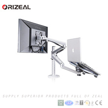 Adjustable Aluminium Laptop Notebook & Computer Monitor Stand Desk Mount Bracket clamp Tilt Swivel Dual Arm Support Holder