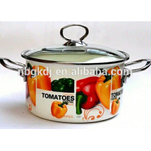 enamel cookware pot /casserole set with full decal& double handle