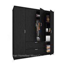 Free Standing Wooden 4 Doors Bedroom Wardrobe Closet Furniture (HF-WS023)