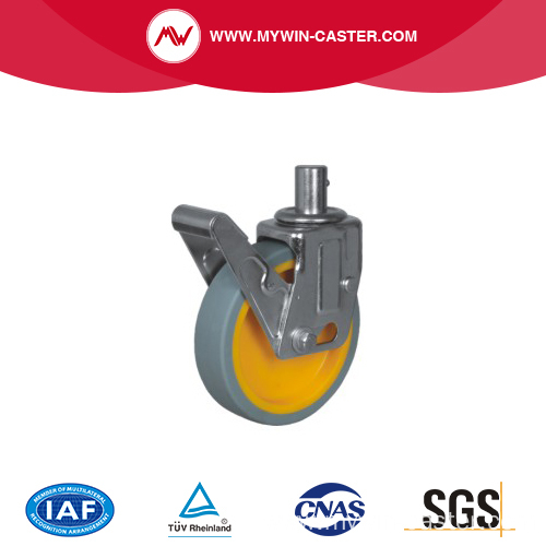 Gray PU Swivel Scaffolding Caster with Yellow Core