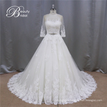 A-Line Lace Beading 3/4 Sleeves Bride Dress