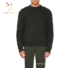 Mens Merino Wool Chunky Cable Knit Winter Pullover Sweater