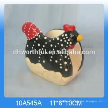 Alta qualidade cerâmica guardanapo holderwith galo design