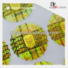 Holographisches Etikettenmaterial Markenentwurf mit Goldfarbe