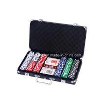 La viruta de póker 300PCS fijó en caja de aluminio del color negro (SY-S44)
