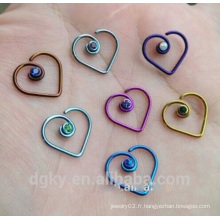 Anodisé en acier chirurgical coeur bijoux boucle de nez avec diamant