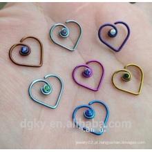 Anodizado Cirúrgico aço Coração jóias nariz anel com diamante