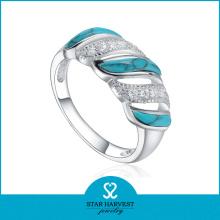 Anillo de plata turquesa azul de calidad fina