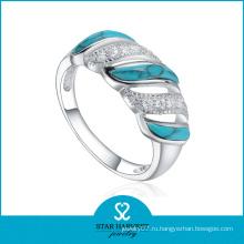 Серебряное синее бирюзовое кольцо высокого качества