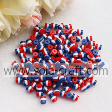 Oval Wholesale Red White Blue Striped 5*6MM Loose Resin Acrylic Resin Beads for Craft