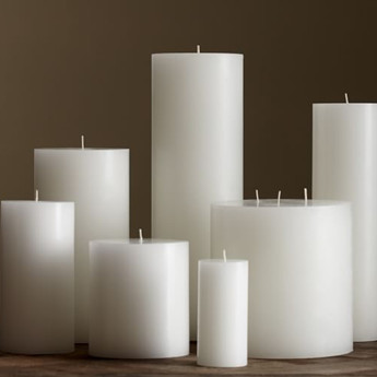 cylinder shape white candles with scent