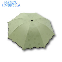 "Factory UV Resistant Hot Selling 21""*8k Manual Open 3 Folding Ladies Fashion Sun Umbrella Manufacture China"