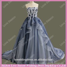 RP0065 Navy and white lace top layers organza corset back latest bridal gowns ball gown classical simple designed wedding dress
