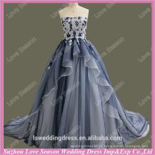 RP0065 Marinha e laço branco top camadas organza corset back últimos vestidos de noiva vestido de bola clássico simples vestido de casamento projetado