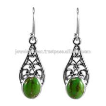 Natürliche grüne Kupfer Türkis Edelstein 925 Sterling Silber Ohrring Schmuck