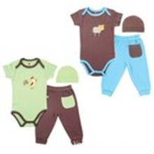 Huvable Friends USA Hudson Baby Bamboo Layette Set,Browm And Green #68353