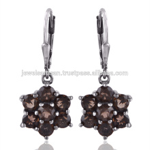 Beautiful Smoky Quartz Gemstone 925 Sterling Silver Earring