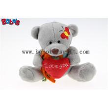 """5.1 """"Маленький серый серый плюшевый мишка с игрушкой I Love You Heart подушка Bos1109"""
