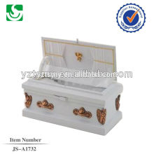 white color wooden baby casket