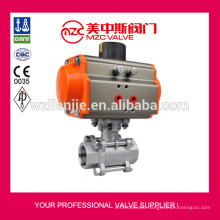 CF8 3PC Ball Valves Pneumatic Actuator Ball Valves