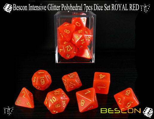Bescon Intensive Glitter Polyhedral 7pcs Dice Set ROYAL RED-1