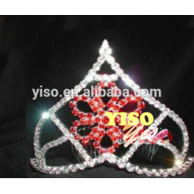red colored fashion diamond flower tiara