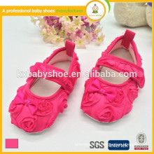 manufacturer hot sale cheap lovely rose satin kids girl dress shoes