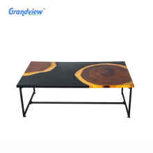 50 mm luxury black color Poplar solid wooden resin coffee table