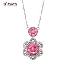 Moda de luxo CZ cristal Rhodium jóias pingente de colar com flor -Xn4772