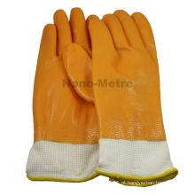 NMSAFETY 13g forro de malha cheia de nitrilo revestido de algodão amarelo de nitrilo luva de trabalho