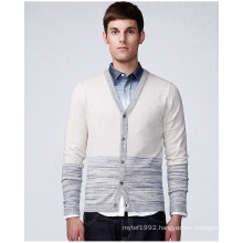 Design V Neck Striped Man Sweater Cardigan