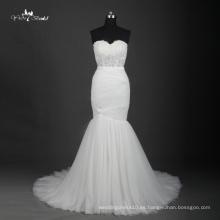 TW0191Illusion plisado sencillo santo blanco sirena vestido de novia