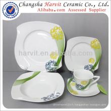 Vaisselle en Chine Elegant Modern Lines Patterns S Ensemble de dîner en vaisselle en forme carrée / Ensemble de vaisselle fine en porcelaine en Allemagne