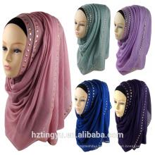 Moda nuevo patrón whosale mujeres llano piedra diamante caliente elegante hijab musulmán