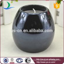 Runde schwarz glasierte Keramik Kerzenständer