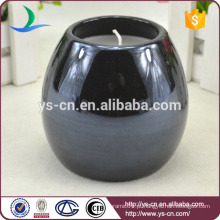 Rodada Black Glazed Ceramic Candle Holders