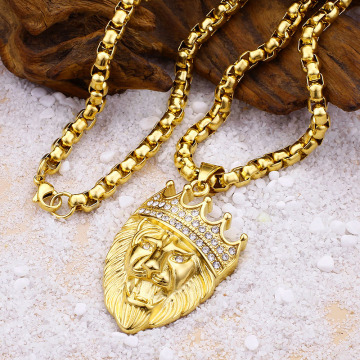 Punk Iced Out Smycken Guld Lion Head Halsband