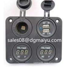 Dual USB Port Power Socket Charger Adapter & Voltmeter Car Camper Caravan Marine 12V