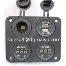 Двойной порт USB разъем питания зарядное устройство адаптер и автомобильный вольтметр Кемпер Караван морской 12В