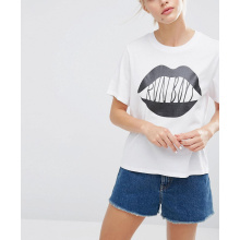 White Color with Black Printing Fashion Women Tee T Shirt